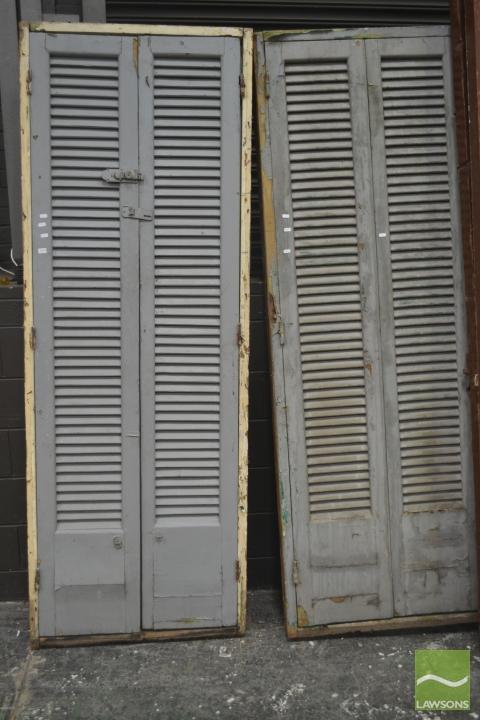 Pair of Two Timber Shutter Doors with glass panels doors