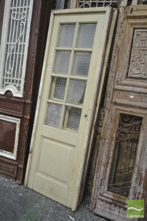 Pair of Cream Painted Timber Doors with glass panel windows