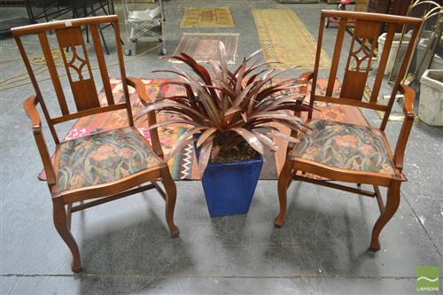 Pair of Slat Back Armchairs