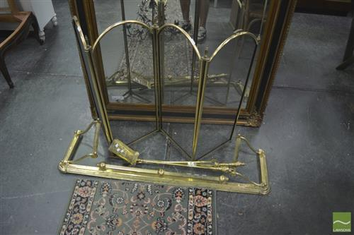 Brass Fire Screen, Fendor & Tools