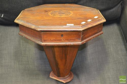 Early Timber Sewing Work Box (missing base)