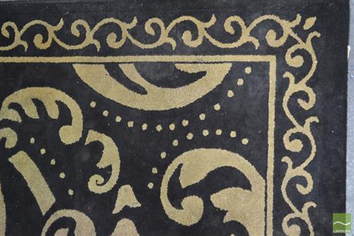 Pierre Cardin Woolen Floor Rug in Black with Gold Detail (170 x 250cm)