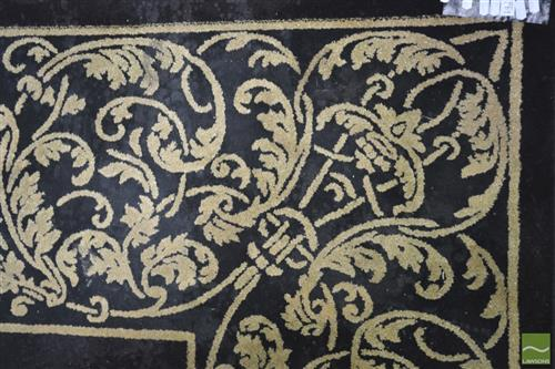 Pierre Cardin Woollen Floor Rug in Black with Gold Detail (170 x 250cm)