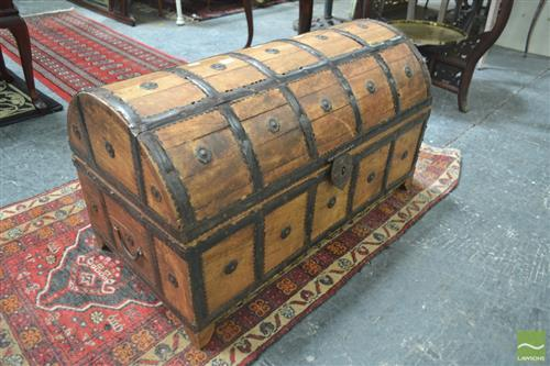 Metal Bound Timber Dome Trunk with Metal Studs
