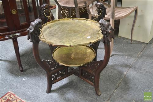 Oriental Side Table with Hanging Brass Tray