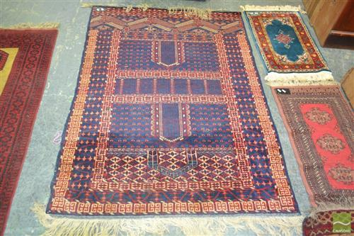 Princess Bokhara Wool Carpet in Dark Blue & Red (172 x 122cm, certificate in office)