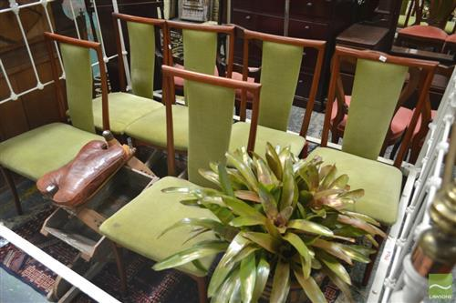 Set of Six High Back Dining Chairs with Green Upholstery
