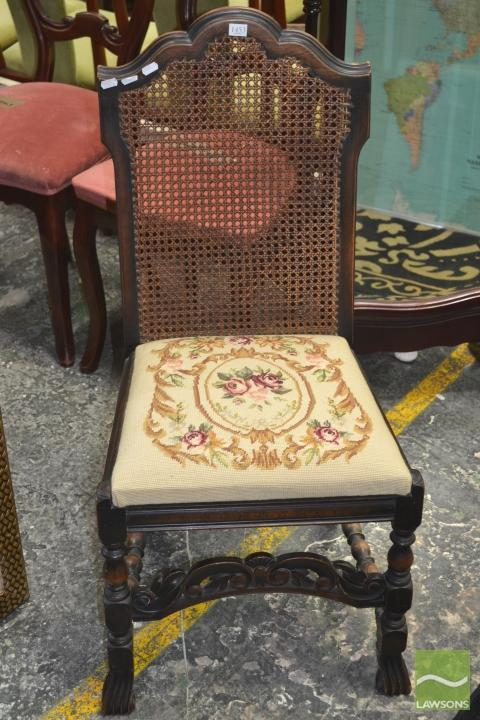 17th Century Style Carved Maple Chair with rattan back and tapestry seat