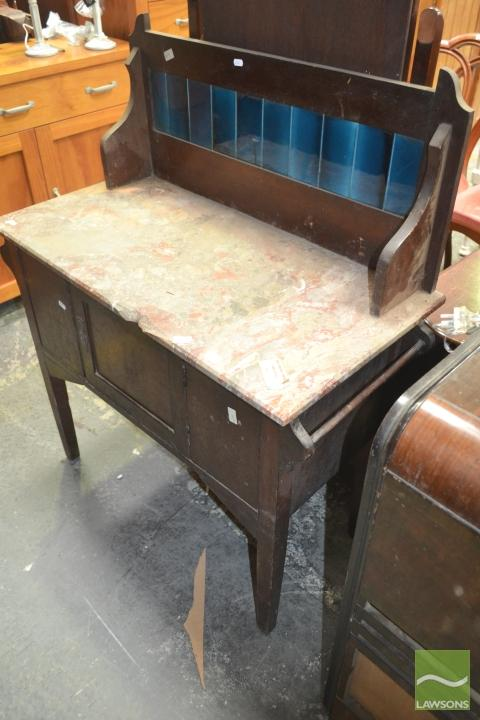 Marble Top Washstand with Tiled Back