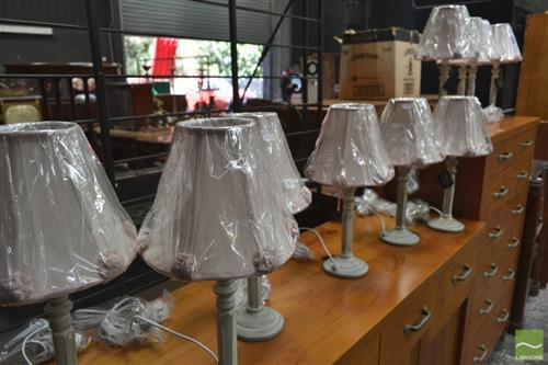 Set of Ten Table Lamps with Pink Shades