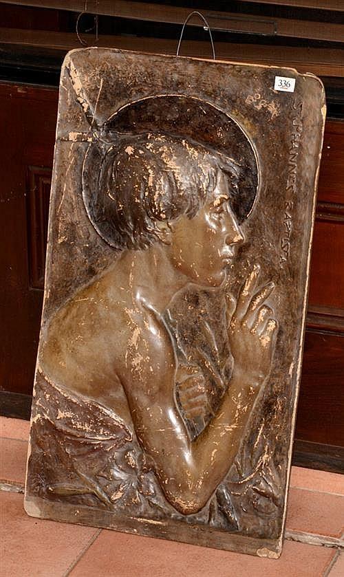 Ernst Wahliss (1837-1900) Terracotta plaque, St Johannes Baptista, impressed mark, made in Austria 67 x 38cm
