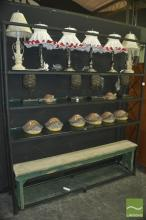 Large Metal Framed Bookshelf w Glass Shelves