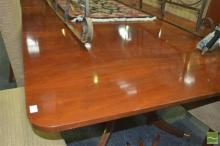 Large Regency Style Mahogany Double Pedestal Table w Tilt-Tops