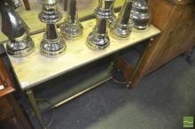 Stretcher Base Hall Table w Alabaster Top