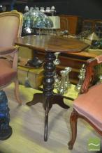 Antique Cedar Wine Table over Tripod Base