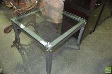 Glass Top Coffee Table on Metal Base