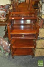 Tiered Mahogany Single Drawer Mirrored Back Hall Stand