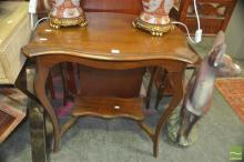 Shield Top Side Table Over Stretcher Base