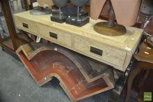 Zen Stainless Steel & Oak Hall Table