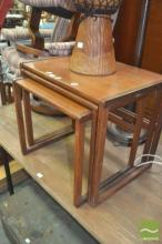 G-Plan Teak Nest of Three Tables with Parquetry Tops