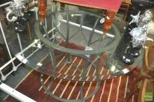 Steel Base Table with Round Bevelled Glass Top