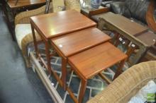 Teak 1960s Nest of Three Tables