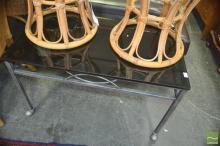 Glass Top Steel Table on Castors