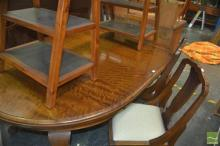 Dining Setting incl. D End Extension Table w 2 Leaves & 6 Inlaid Chairs inc 2 Carvers (winder in office)