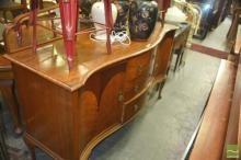 Inlaid Mirrored back Sideboard with Serpentine Front & Raised on Cabriole Legs