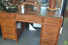 Oriental Twin Pedestal Desk with Glass Top & Nine Drawers