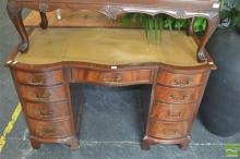 Leather Inlaid Top Desk with Nine Drawers
