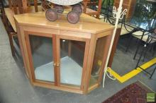 Possibly Maple Corner Display Cabinet with Two Glass Shelves