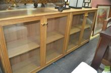 Tasmanian Oak Four Door Bookcase or Display Cabinet on Casters