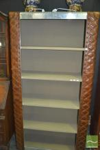 Leather Clad Open Bookcase