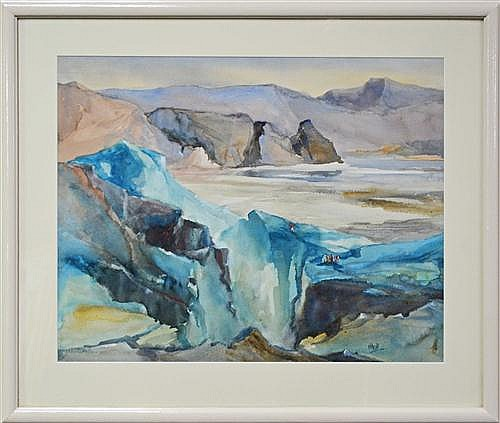 May Neill (1910 - ?) - Fox Glacier, New Zealand 53 x 66cm