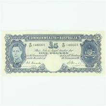 Commonwealth of Australia Five Pound Note Signed Coombs & Watt