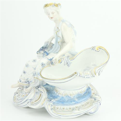 Continental Hand Painted Figural Open Salt