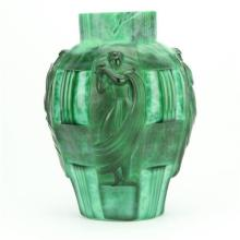 Curt Schlevogt Malachite Glass Vase by Artur Pleva