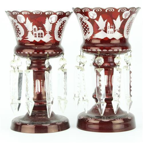 Czech Bohemian Egermann Crystal Ruby Red Pair of Lustres