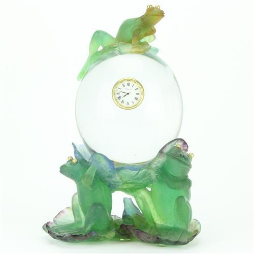 Daum Pâte de Verre Glass Two Piece Frog Clock