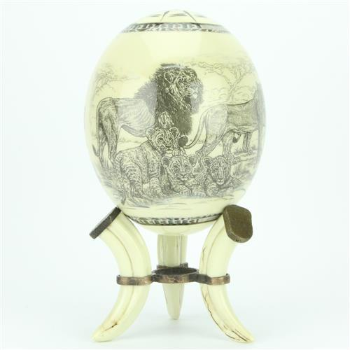 Decoupage 'Pride of Lions' Ostrich Egg
