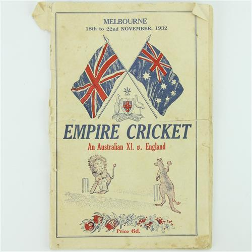Empire Cricket 1932 Melboune 'Bodyline' Programme