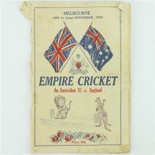 Empire Cricket 1932 Melboune 'Bodyline' Programme