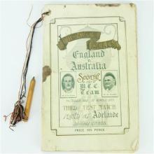 England v Australia Third Test Souvenir Programme Adelaide Oval, 13 January 1933