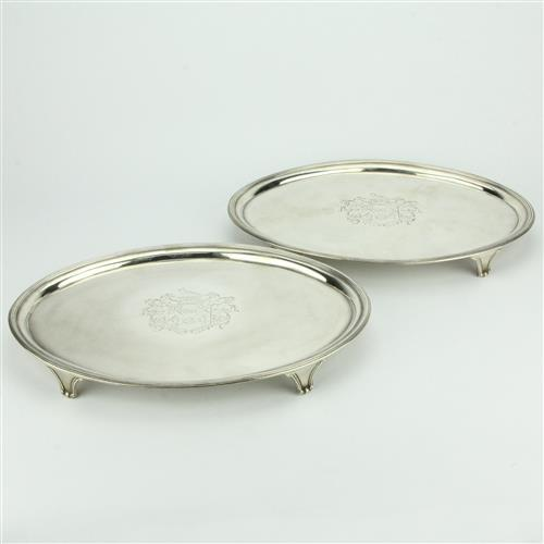 English Hallmarked Sterling Silver George III Pair of Footed Trays