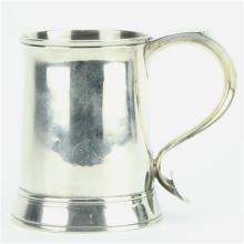 2English Hallmarked Sterling Silver George III Tankard