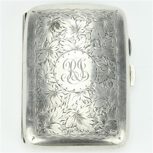 English Hallmarked Sterling Silver George V Cigarette Case