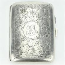 English Hallmarked Sterling Silver George V Cigarette Case