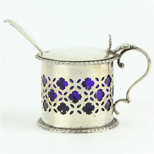 English Hallmarked Sterling Silver Victorian Mustard Pot & Spoon