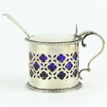 English Hallmarked Sterling Silver Victorian Mustard Pot & Spoon